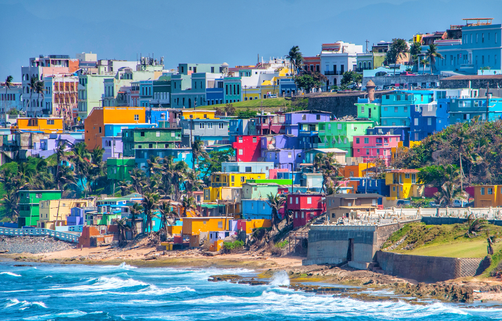 view colorful apartments and homes off the coast of puerto rico